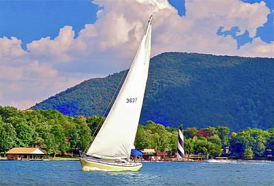 Tacking Lighthouse Sailor, Smith Mountain Lake Poster