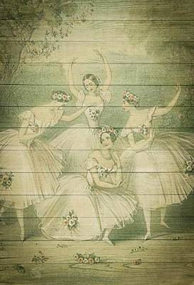 The Ballet Dancers Shabby Chic Vintage Style Portrait Poster