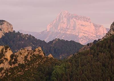Poster featuring the photograph The Last Of The Light At Pena Montanesa by Stephen Taylor
