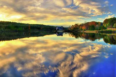 Poster featuring the photograph The Old Stone Church - Autumn Reflections by Joann Vitali
