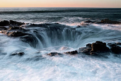 Poster featuring the photograph Thor's Well Sunset 101818 by Rospotte Photography