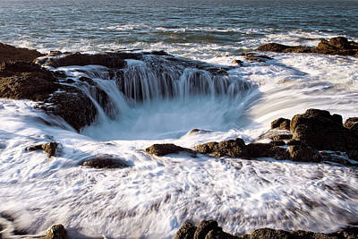 Poster featuring the photograph Thor's Well Yachats Oregon 102518 by Rospotte Photography