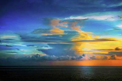 Thunder At Sun Set Poster