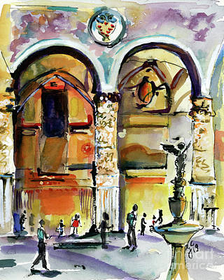 Poster featuring the painting Travel Italy Florence Impressions by Ginette Callaway