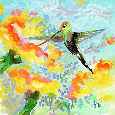 Poster featuring the painting Tropical Hummingbird by Ginette Callaway