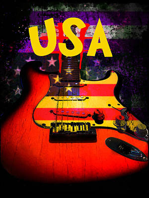Usa Flag Guitar Purple Stars And Bars Poster