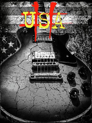 Usa Flag Guitar Relic Poster
