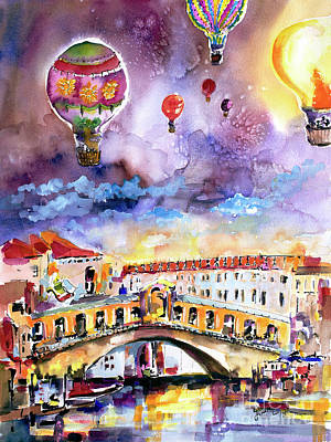 Poster featuring the painting Venice Italy Rialto Bridge With Balloons by Ginette Callaway