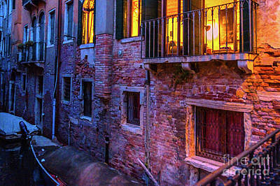Venice Windows At Night Poster