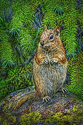 Poster featuring the digital art Vigilant Chipmunk by Joel Bruce Wallach