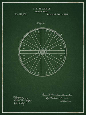Poster featuring the drawing Vintage Bicycle Tire Patent by Dan Sproul