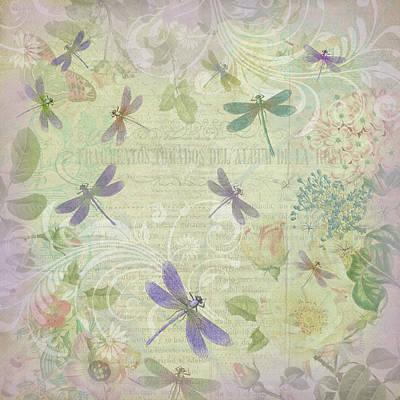 Vintage Botanical Illustrations And Dragonflies Poster