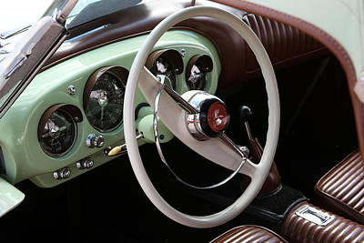 Poster featuring the photograph Vintage Kaiser Darrin Automobile Interior by Debi Dalio