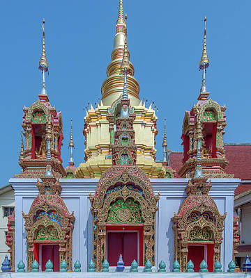 Poster featuring the photograph Wat Ban Kong Phra That Chedi Base Dthlu0502 by Gerry Gantt