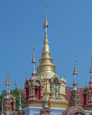 Poster featuring the photograph Wat Ban Kong Phra That Chedi Pinnacle Dthlu0499 by Gerry Gantt