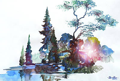 Watercolor Forest And Pond Poster