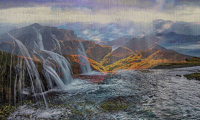 Waterfalls In The Mountains Poster
