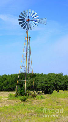 Poster featuring the photograph West Texas Windmill A9718 by Mas Art Studio