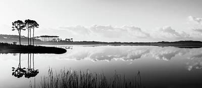 Western Lake Misty Morning Panorama Black $ White Poster