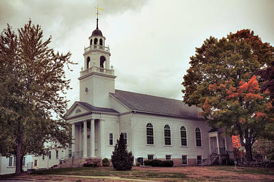Poster featuring the photograph White Church In Fall - Hollis Nh by Joann Vitali