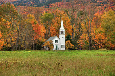 Poster featuring the photograph White Country Church In Autumn - Wonalancet Union Chapel  by Joann Vitali