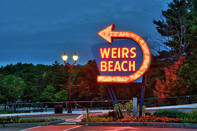 Poster featuring the photograph Wiers Beach Sign - Laconia, Nh by Joann Vitali