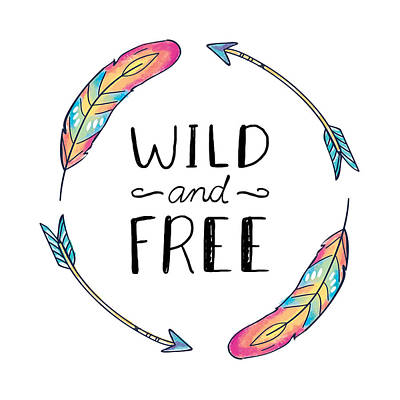 Wild And Free Colorful Feathers - Boho Chic Ethnic Nursery Art Poster Print Poster
