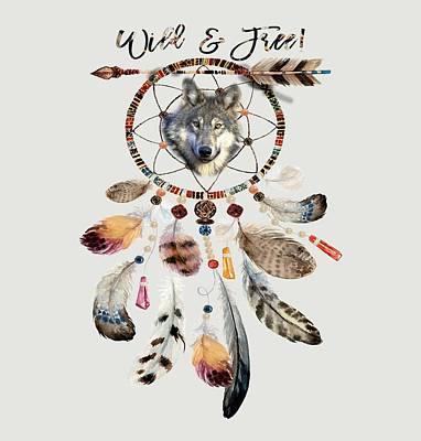 Poster featuring the mixed media Wild And Free Wolf Spirit Dreamcatcher by Georgeta Blanaru