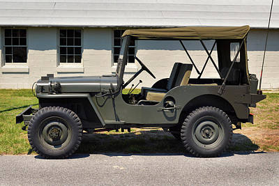 Poster featuring the photograph Willys Jeep Usa With Canopy At Fort Miles by Bill Swartwout Fine Art Photography