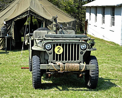 Poster featuring the photograph Willys Jeep With Machine Gun At Fort Miles by Bill Swartwout Fine Art Photography