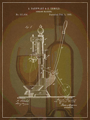 Poster featuring the drawing Wine Bottle Corking Patent by Dan Sproul