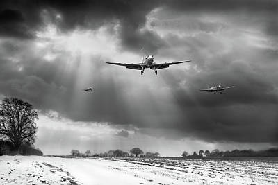 Poster featuring the photograph Winter Homecoming Bw Version by Gary Eason