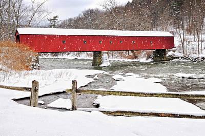 Winter Scene-west Cornwall Covered Bridge Poster