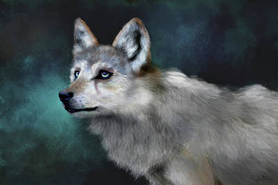 Poster featuring the digital art Wolf Art by Angela Murdock