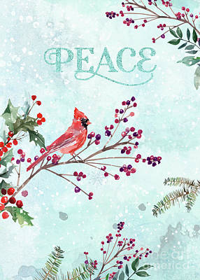 Woodland Holiday Peace Art Poster