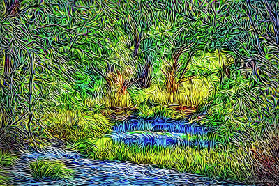 Poster featuring the digital art Woodland Streaming Waters by Joel Bruce Wallach