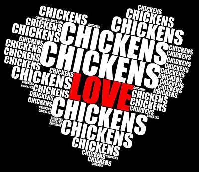 Word Cloud White Love Chickens Poster