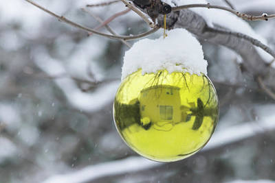 Poster featuring the photograph Yellow Christmas Ball Outside, Covered By Snow And House Reflect by Cristina Stefan