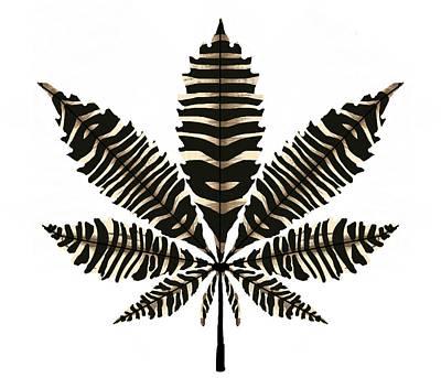 Zebra Pattern Marijuana Leaf 2 Poster