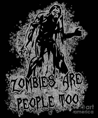 Zombies Are People Too Halloween Vintage Poster