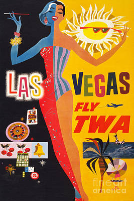 vintage travel poster TWA LOS ANGELES bright church bells COLLECTORS 24X36