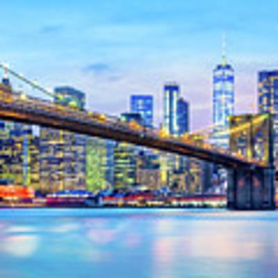Brooklyn Bridge And The Lower Manhattan Skyline Poster by Mihai Andritoiu