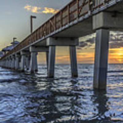 Fort Myers Beach Fishing Pier Poster by Edward Fielding