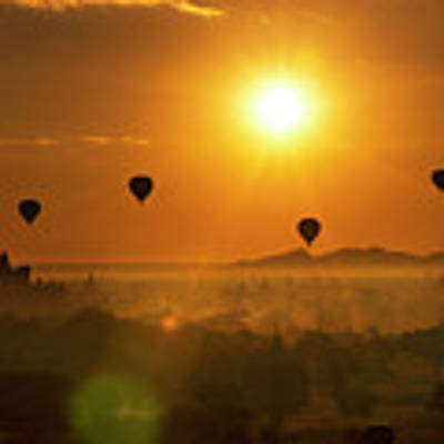Holy Temple And Hot Air Balloons At Sunrise Poster by Pradeep Raja PRINTS