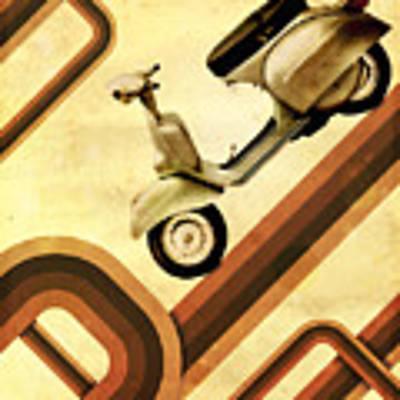 Retro Vespa Scooter Poster