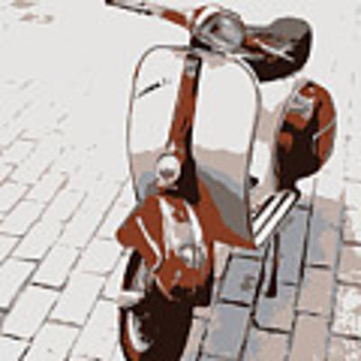 Vespa Scooter Pop Art Poster by Michael Tompsett