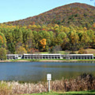 View Of Peaks Of Otter Lodge And Abbott Lake  In Autumn Poster by Emanuel Tanjala