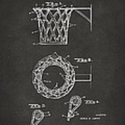 1951 Basketball Net Patent Artwork - Gray Poster