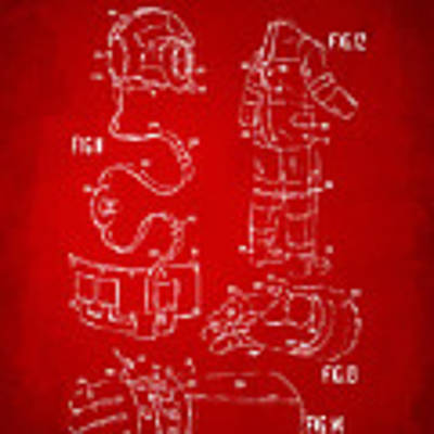 1973 Space Suit Elements Patent Artwork - Red Poster