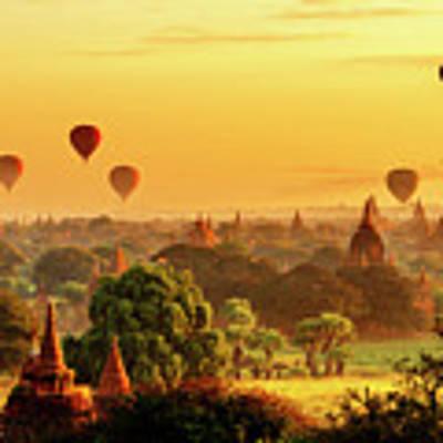 Bagan Pagodas And Hot Air Balloon Poster by Pradeep Raja PRINTS